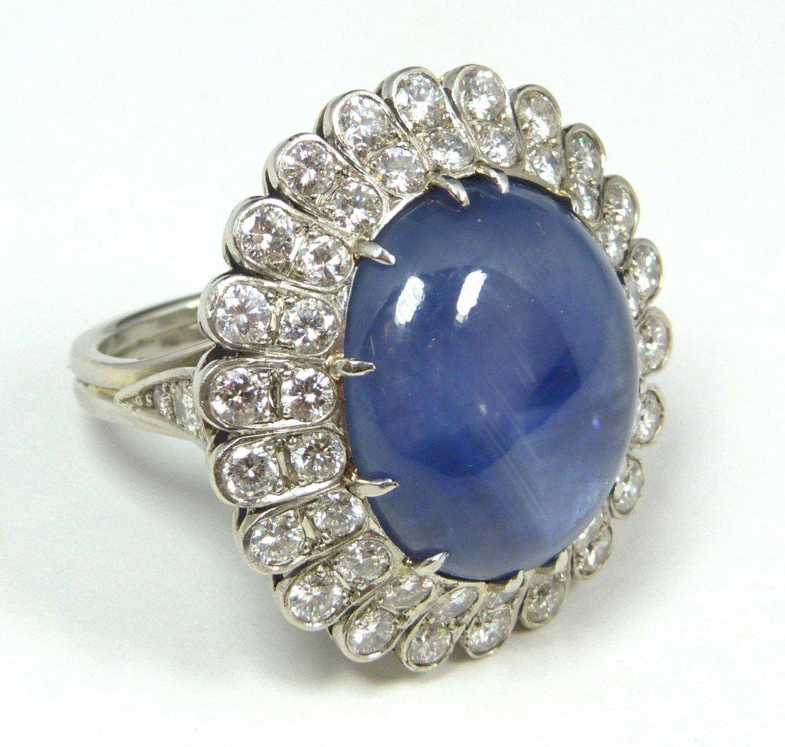 104: PLATINUM DIAMOND & 50.45ct SAPPHIRE RING