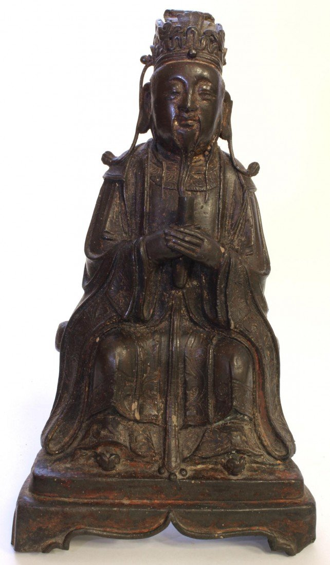187: CHINESE MING DYNASTY BRONZE OF SEATED ELDER