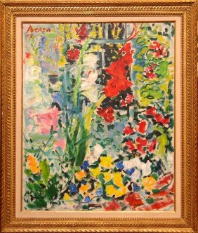 DIMITRI BEREA OIL PAINTING ON CANVAS OF FLOWERS