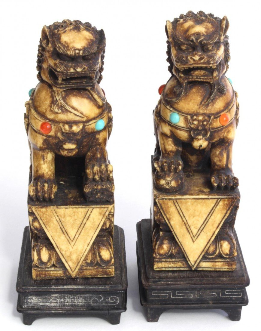 93: Pr CHINESE FOO DOGS WITH TURQUOISE AND AMBER