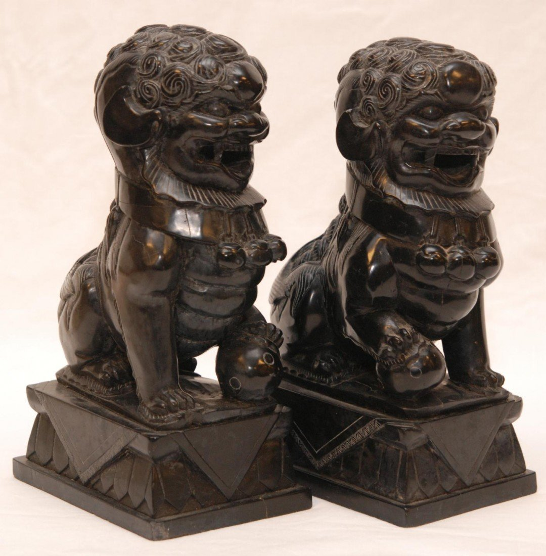 92: PAIR OF CHINESE CARVED BLACK STONE FOO DOG FIGURES