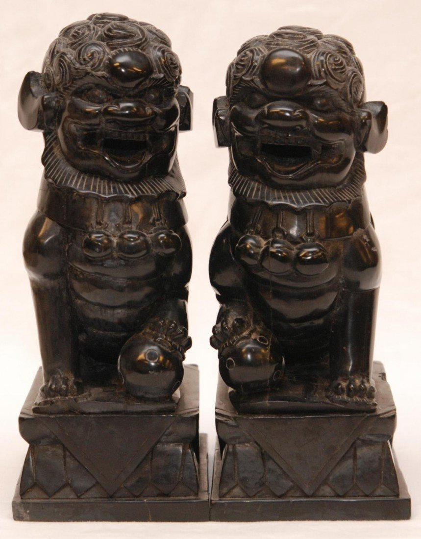 92: PAIR OF CHINESE CARVED BLACK STONE FOO DOG FIGURES - 2
