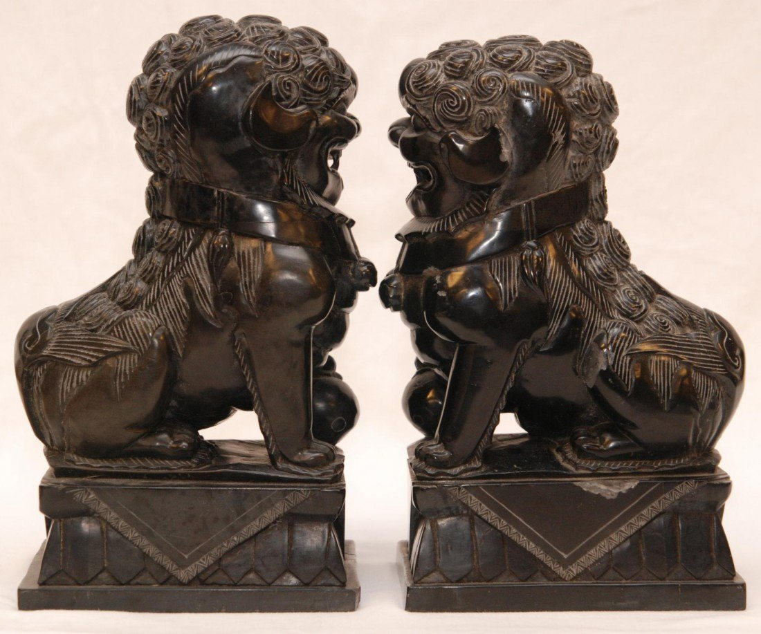 92: PAIR OF CHINESE CARVED BLACK STONE FOO DOG FIGURES - 3