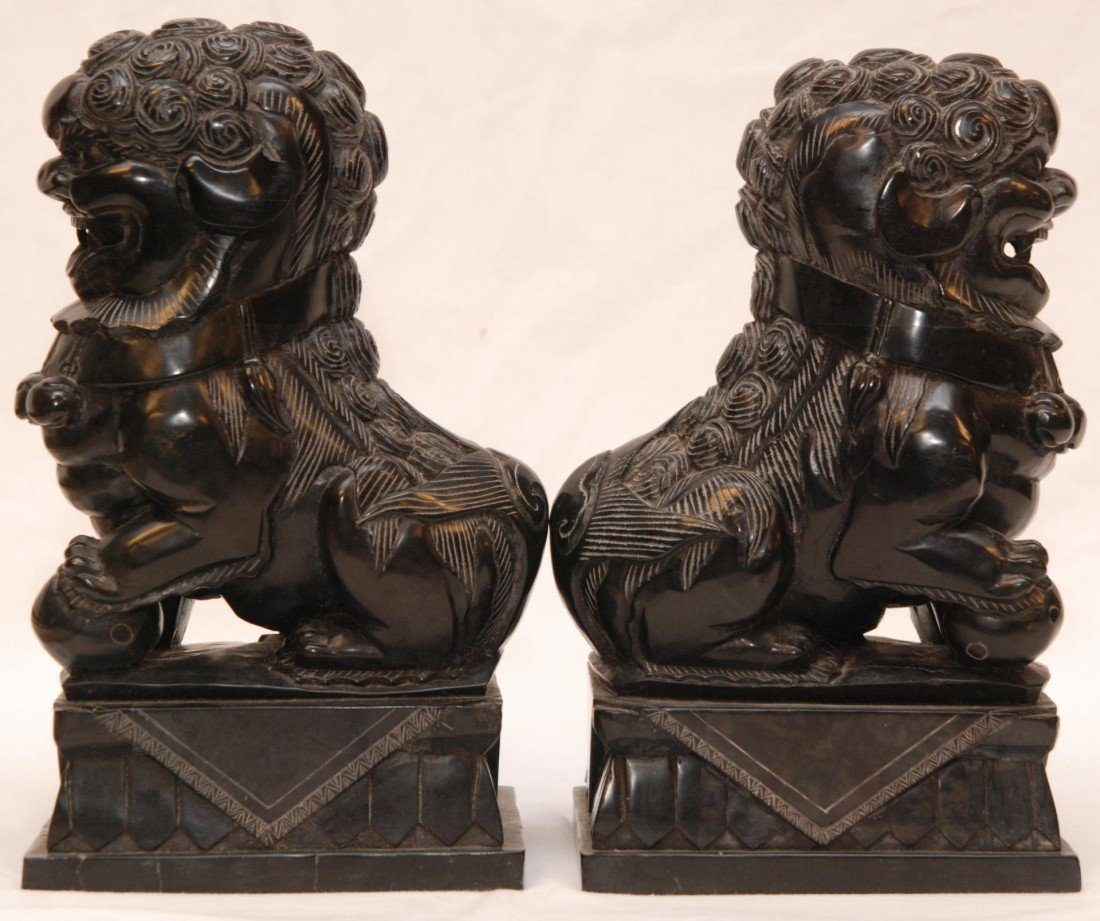 92: PAIR OF CHINESE CARVED BLACK STONE FOO DOG FIGURES - 4