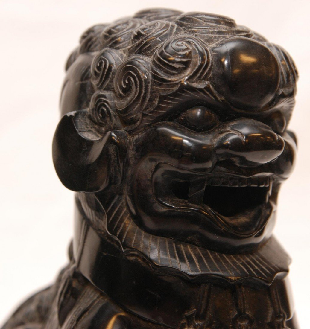 92: PAIR OF CHINESE CARVED BLACK STONE FOO DOG FIGURES - 6