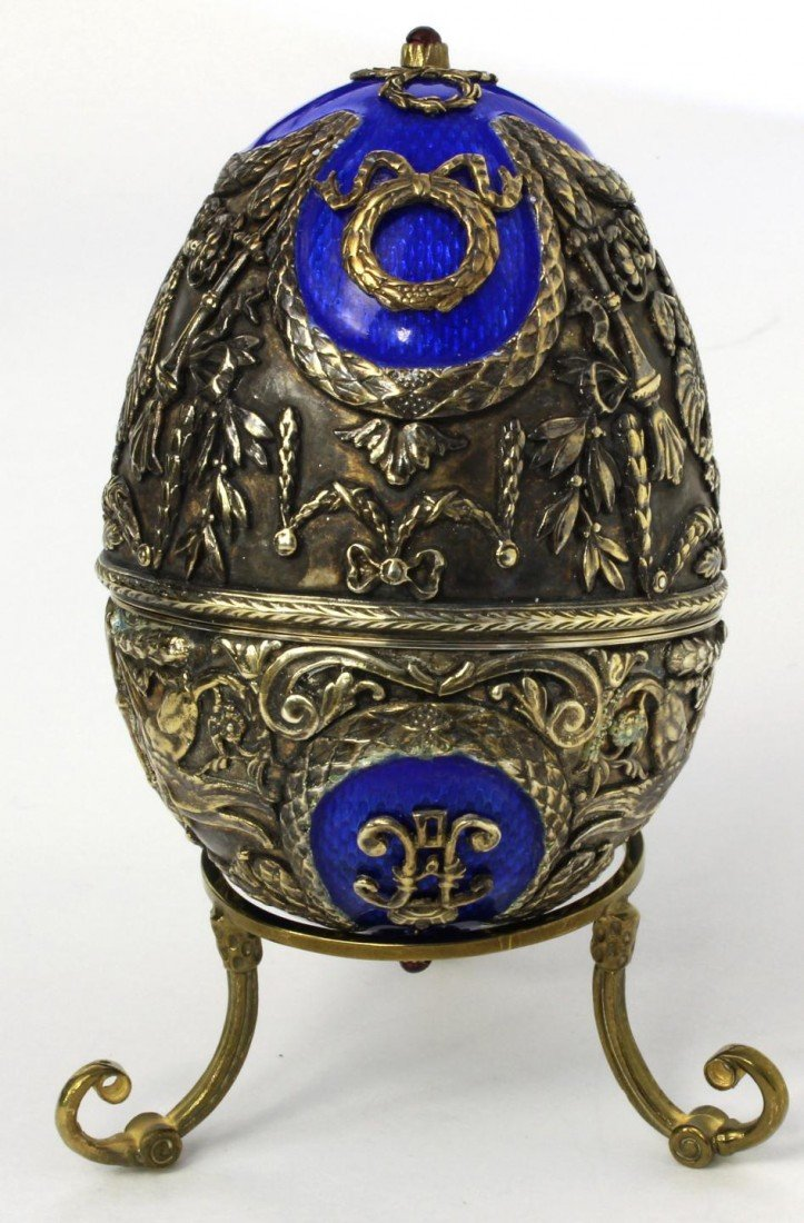 83A: RUSSIAN SILVER & ENAMEL DOUBLE HEADED EAGLE EGG