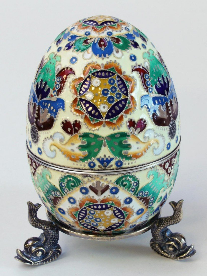 87A: IMPERIAL RUSSIAN SILVER ENAMELED EGG RUCKERT