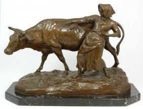 CHARLES VALTON BRONZE GROUP FIGURE MILK MAID