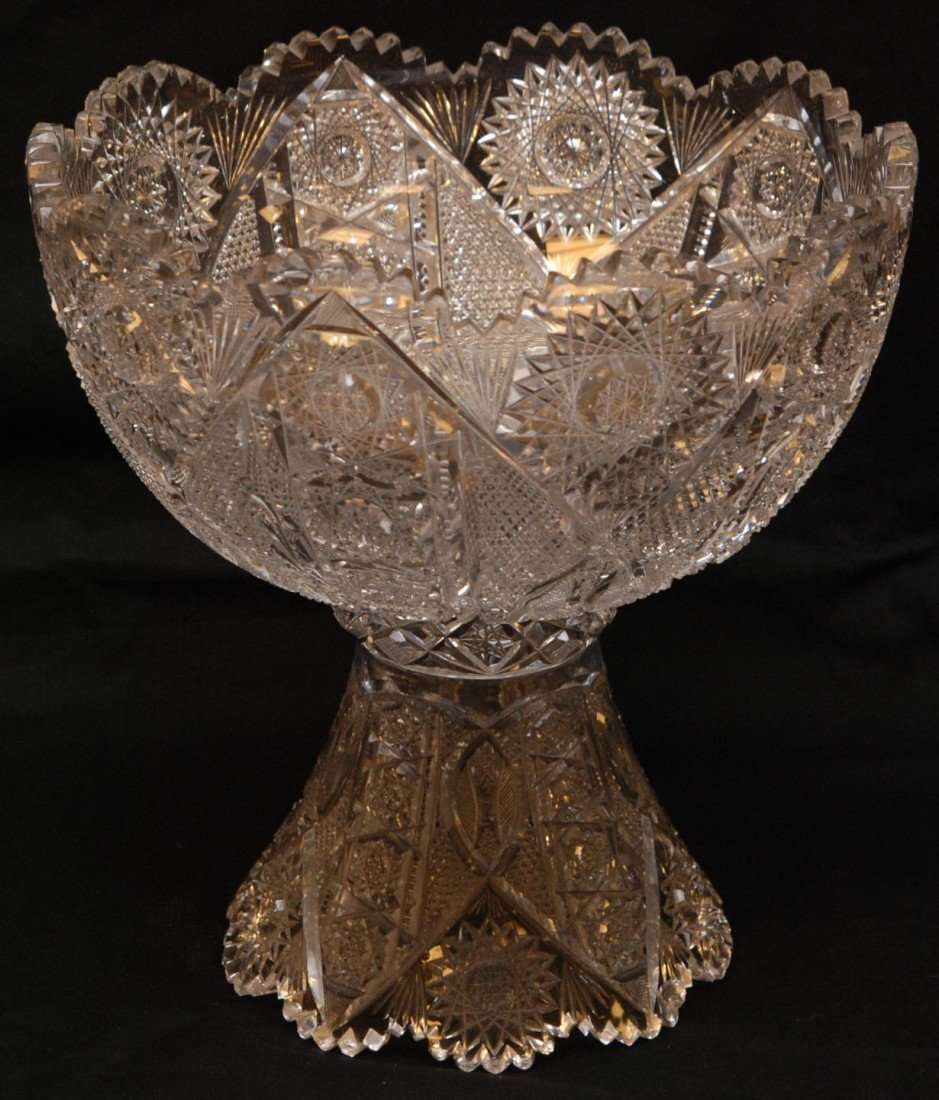125: HEAVILY CARVED FRENCH CRYSTAL PUNCH BOWL w STAND