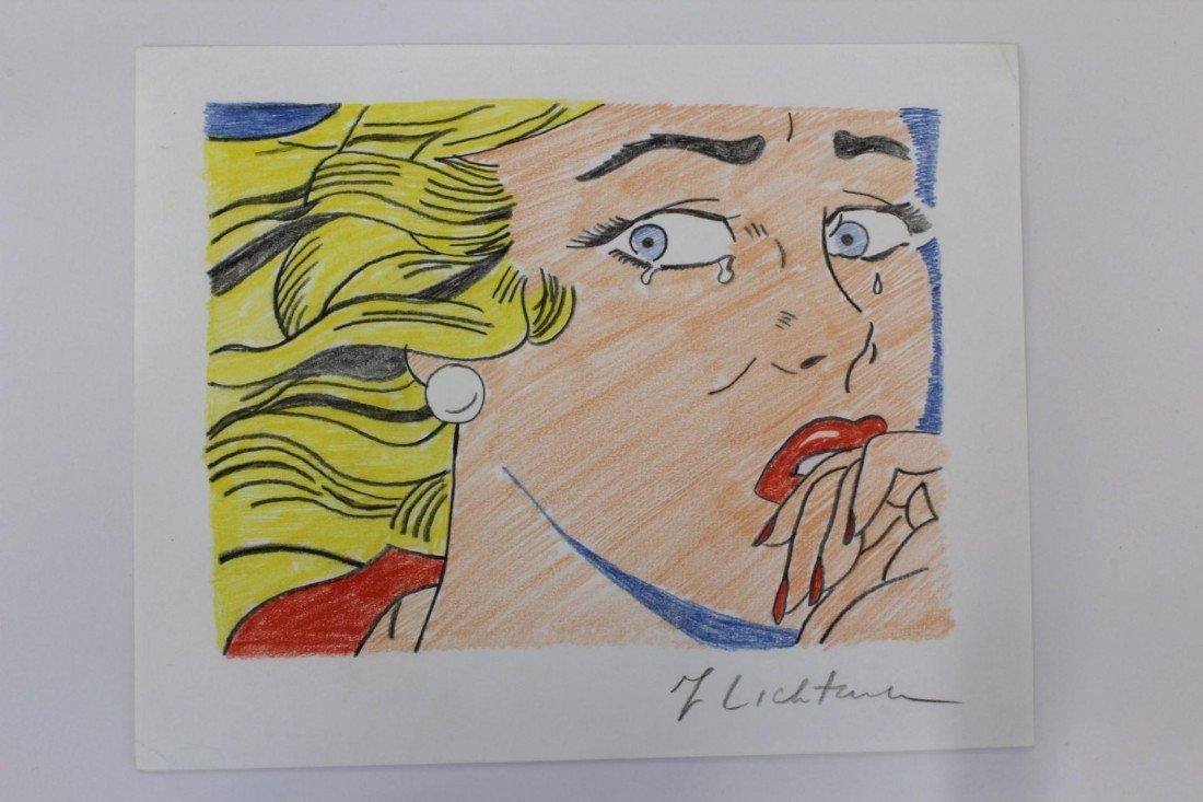 175: ROY LICHTENSTEIN PENCIL SKETCH OF CRYING GIRL