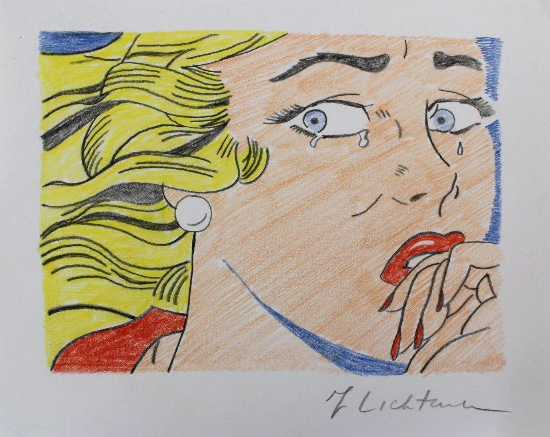 175: ROY LICHTENSTEIN PENCIL SKETCH OF CRYING GIRL - 2