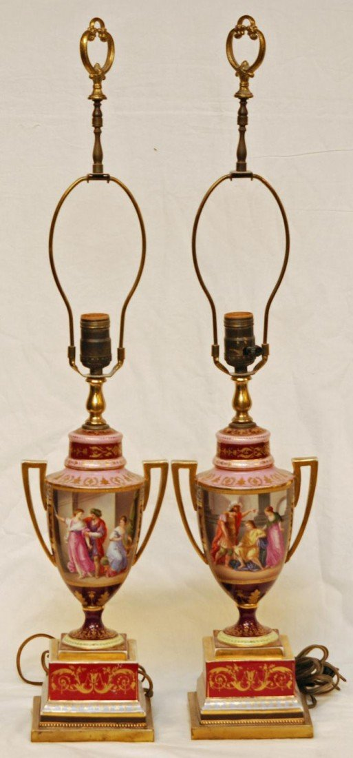119: Pr OF ANTIQUE ROYAL VIENNA LAMPS SIGNED KRAUSSE