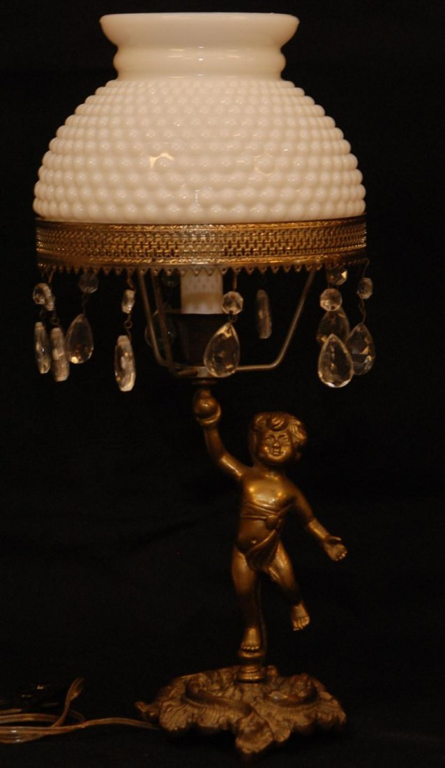 19: ANTIQUE BRONZE FIGURAL CHERUB LAMP