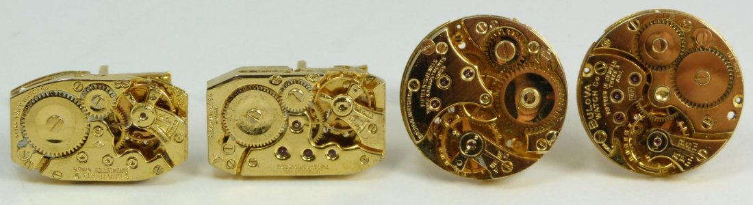 21: 2 PAIRS OF MENS GOLD PLATED MOVEMENT CUFFLINKS