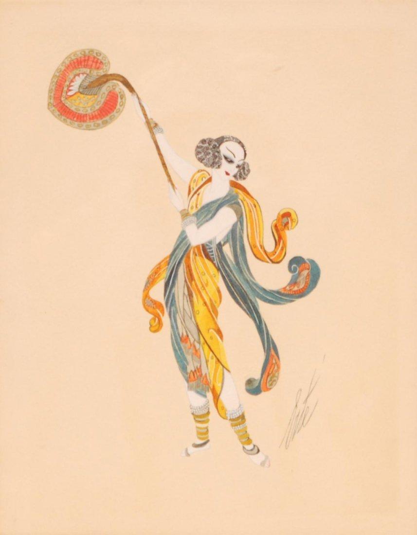 123: ORIGINAL ERTE WATERCOLOR ON PAPER OF WOMAN