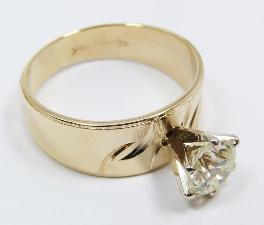8: 14K YG RING MOUNT WITH .97CT DIAMOND WITH CERT