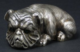 23: IMPERIAL RUSSIAN SILVER DOG FIGURE RECUMBENT