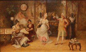 GEORGE-ARTHUR JACQUIN OIL/CANVAS OF DANCING SCENE