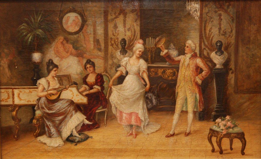 82: GEORGE-ARTHUR JACQUIN OIL/CANVAS OF DANCING SCENE