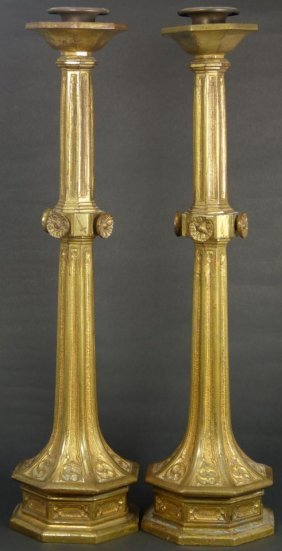 Pr OF ANTIQUE TIFFANY & Co BRASS CANDLESTICKS