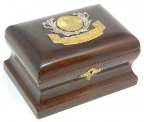 RUSSIAN WOOD & SILVER TZAR CASSETTE BOX