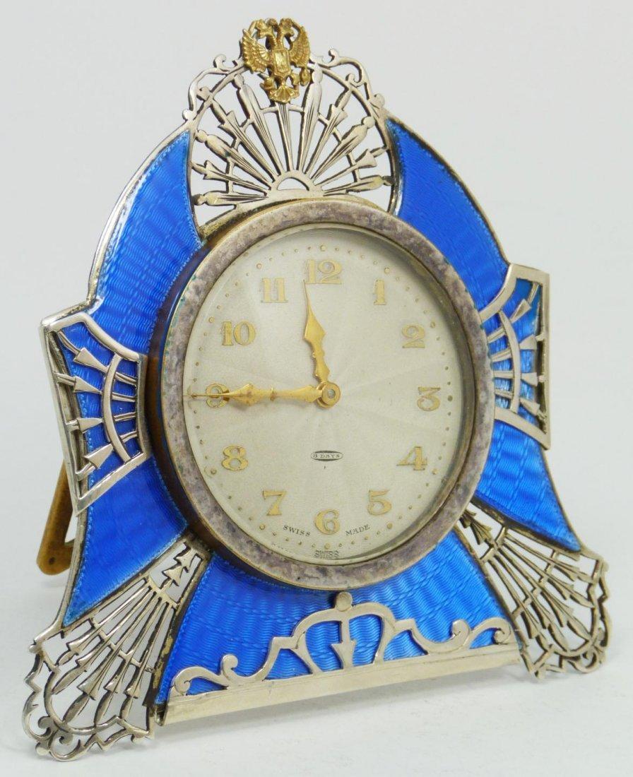90: RUSSIAN SILVER GUILLOCHE CLOCK w SWISS MOVEMENT
