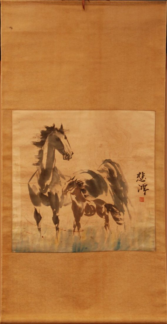 118: BEIHONG CHINESE INK & WATERCOLOR OF HORSES