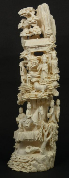 CHINESE CARVED IVORY QUAN YIN MOUNTAIN TUSK