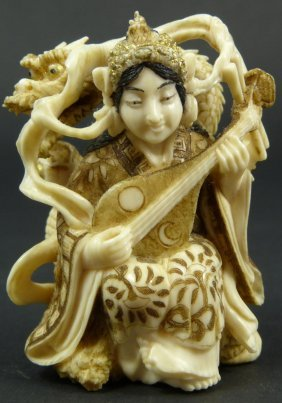 19th C JAPANESE IVORY STUDY OF MEIREN W DRAGON