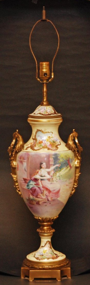 155: SEVRES HAND PAINTED PORCELAIN LAMP SIGNED MAXANT