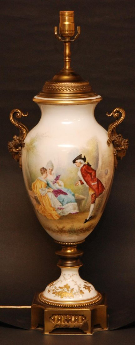 156: SEVRES HAND PAINTED PORCELAIN LAMP SIGNED COFFIN