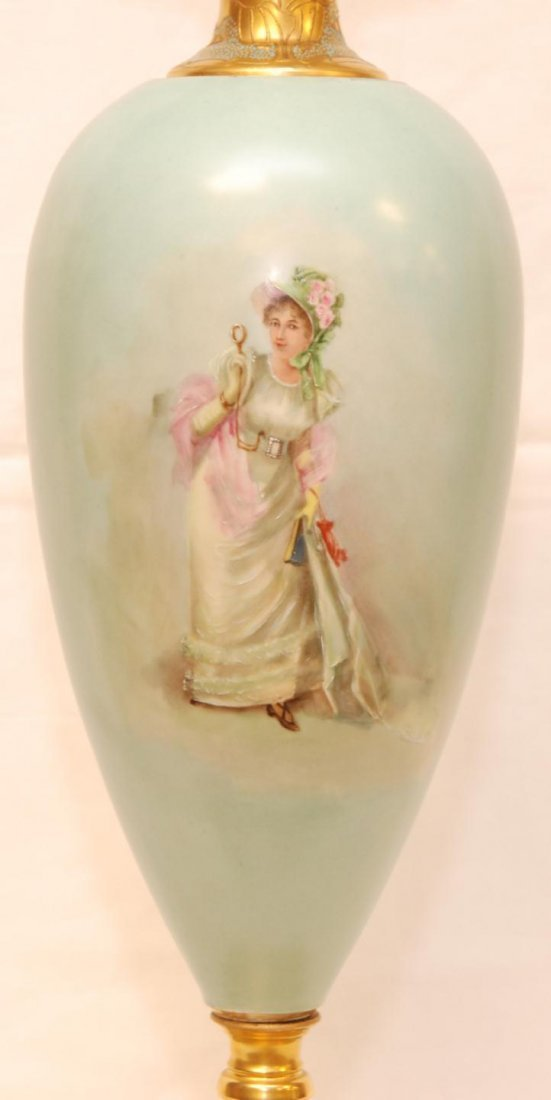 158: AUSTRIAN HAND PAINTED BLUISH GREEN PORCELAIN LAMP - 2