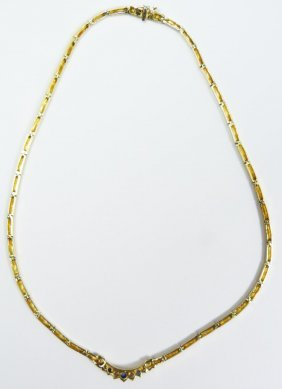 14k YELLOW GOLD DIAMOND & SAPPHIRE NECKLACE