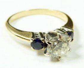 5: 14K WHITE GOLD .92ct. DIAMOND AND SAPPHIRE RING