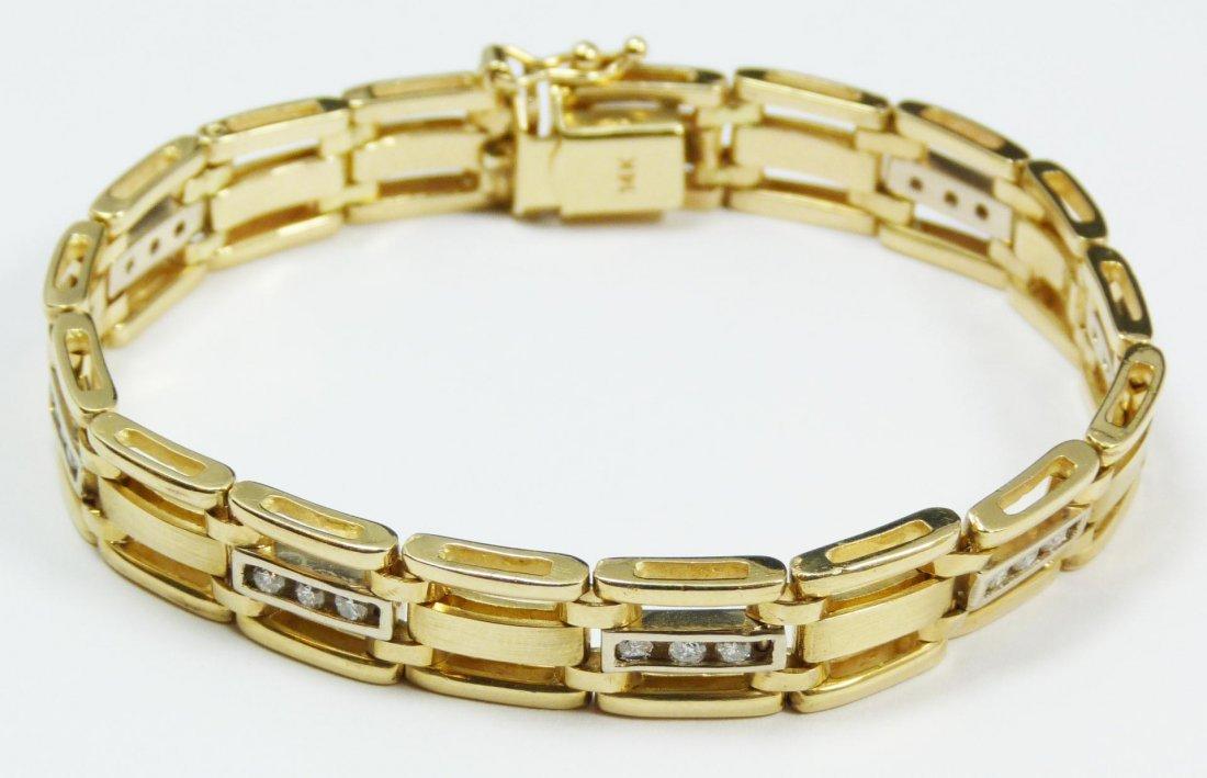 9: 14K YELLOW GOLD MEN'S DIAMOND BRACELET