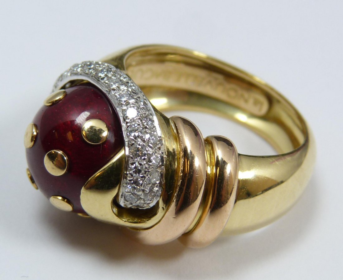 108: 18K YELLOW GOLD RED ENAMEL DIAMOND RING