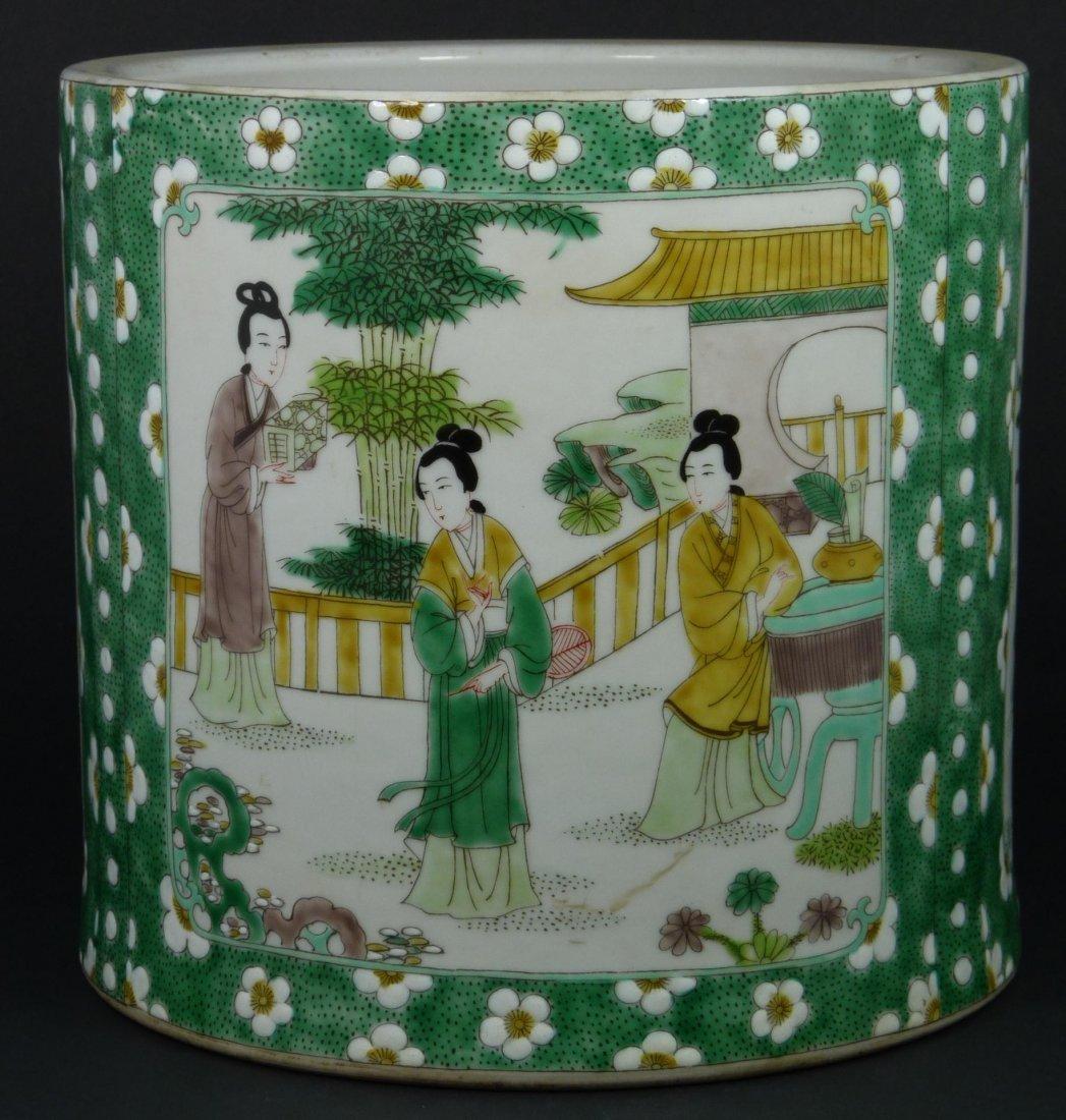 165: LARGE 19th CENTURY CHINESE FAMILLE VERTE BRUSH POT