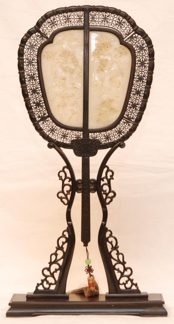 152: CHINESE WHITE JADE FAN WITH WOODEN FRAME & STAND