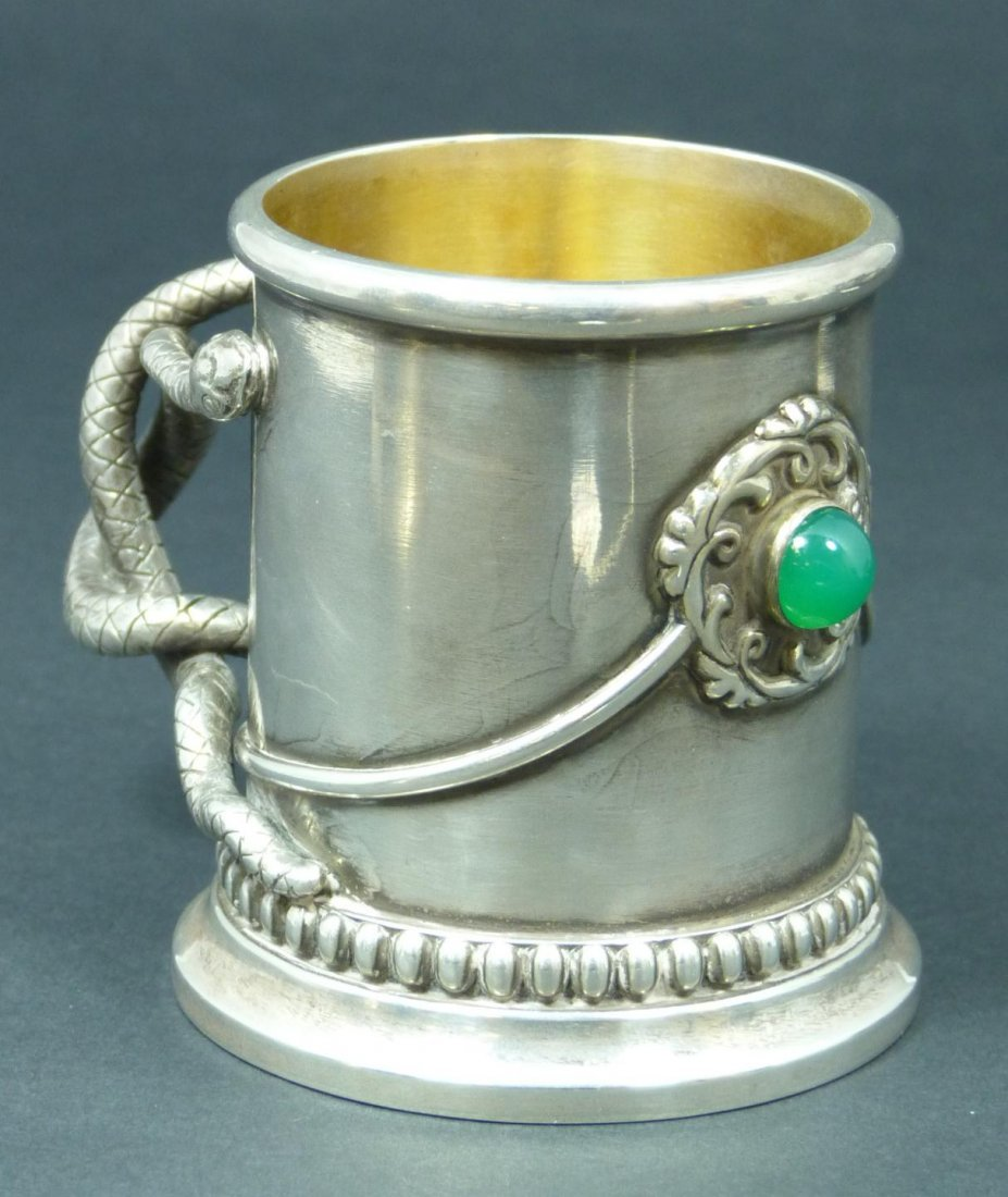 95: FABERGE RUSSIAN SILVER JEWELED SNAKES TANKARD