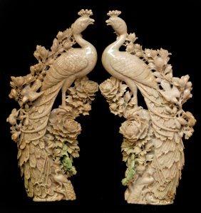 101: Pr OF PALATIAL CARVED JADEITE PHOENIX SCULPTURES