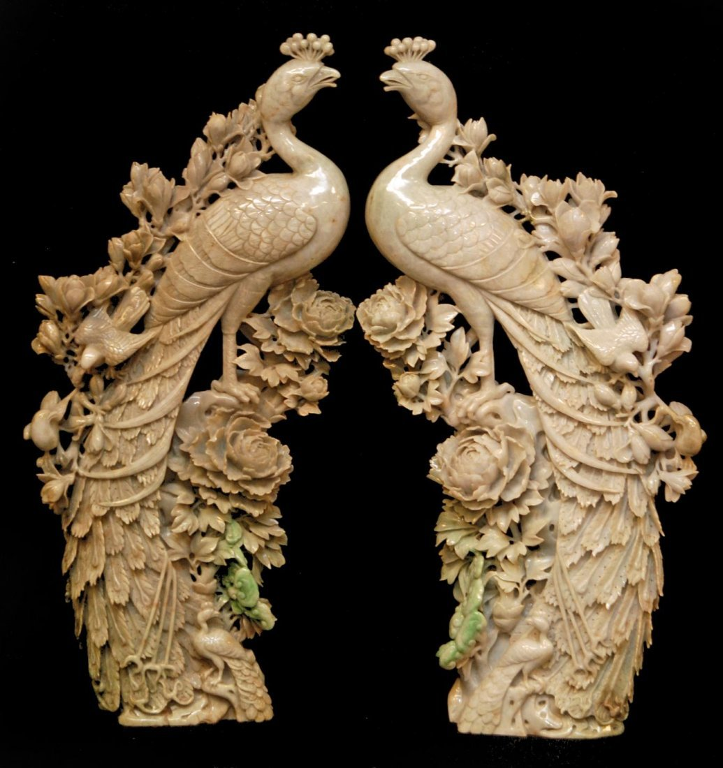 101: Pr OF PALATIAL CARVED JADEITE PHOENIX SCULPTURES