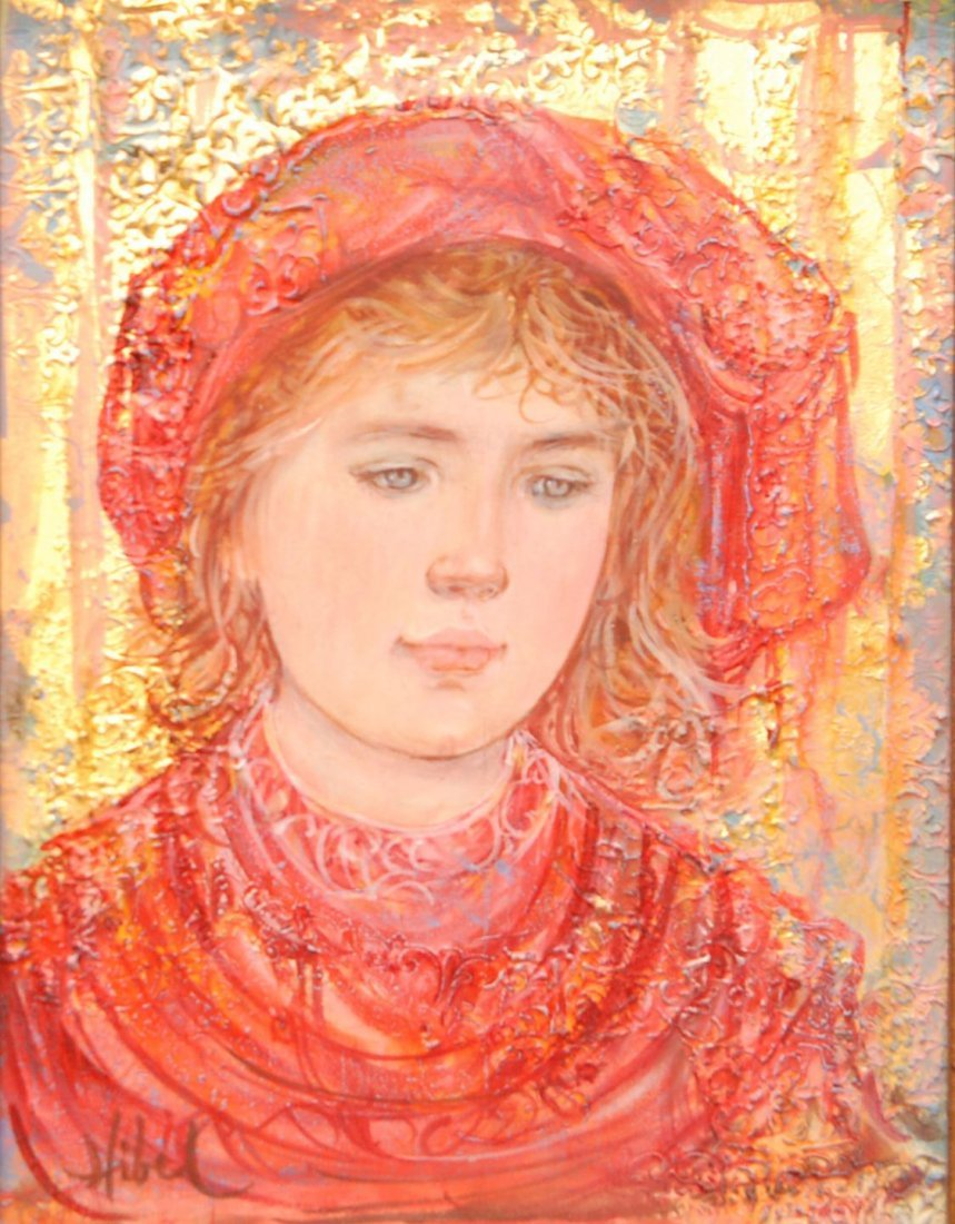 162: EDNA HIBEL OIL PAINTING ON PANEL OF GIRL IN RED DR