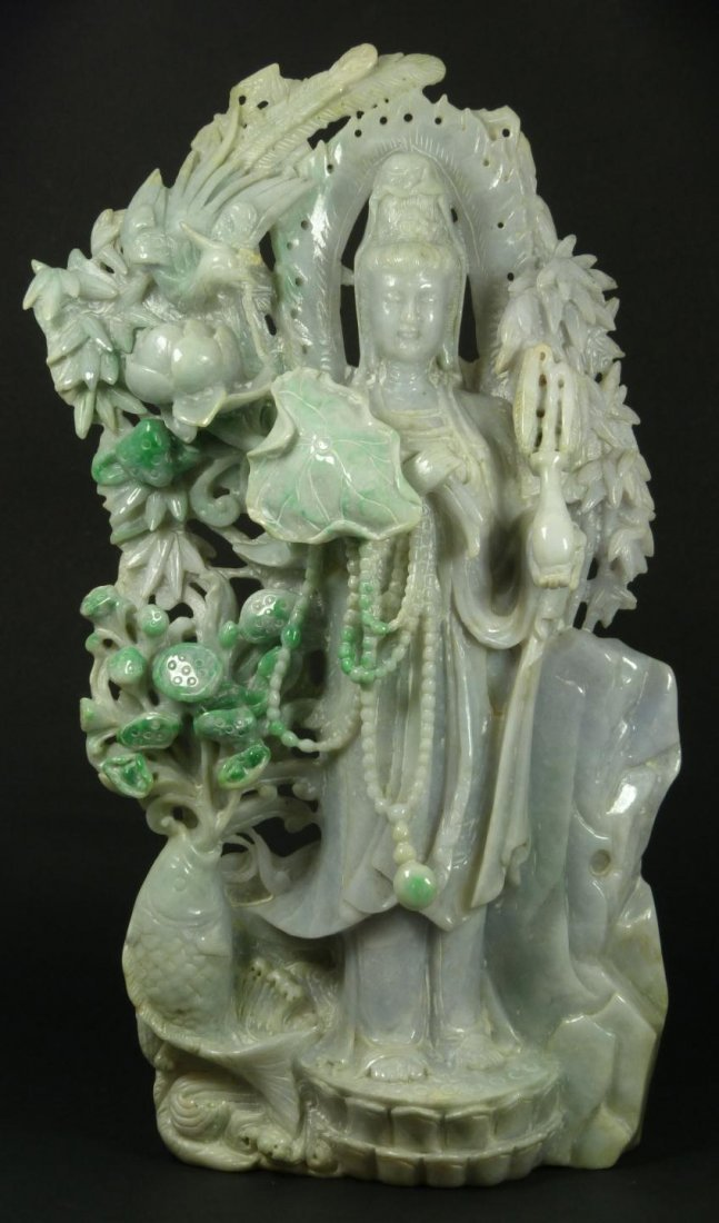 10: CHINESE CARVED JADEITE GUANYIN GROUP SCULPTURE