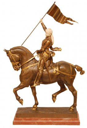 FREMIET BRONZE AND IVORY JOAN OF ARC SCULPTURE