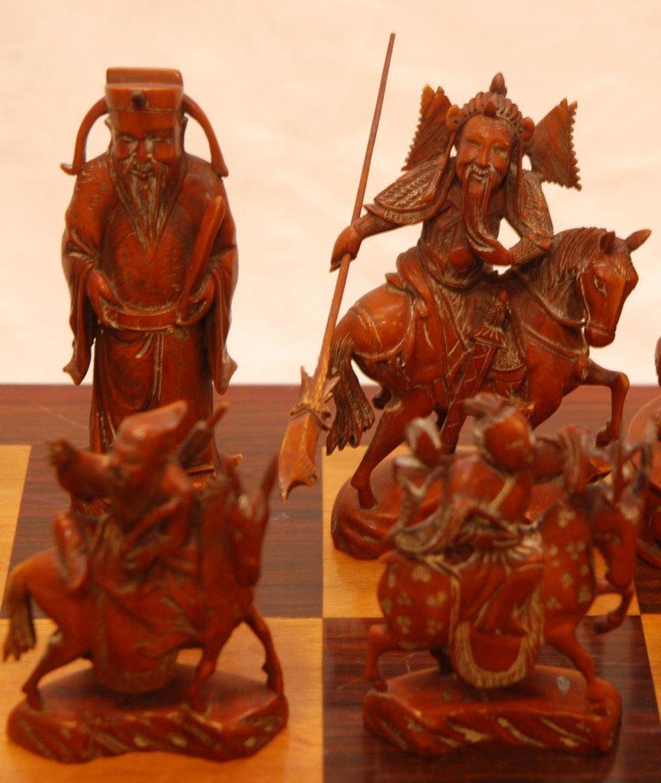 116: ANTIQUE CHINESE QIANLONG LARGE IVORY CHESS SET - 3