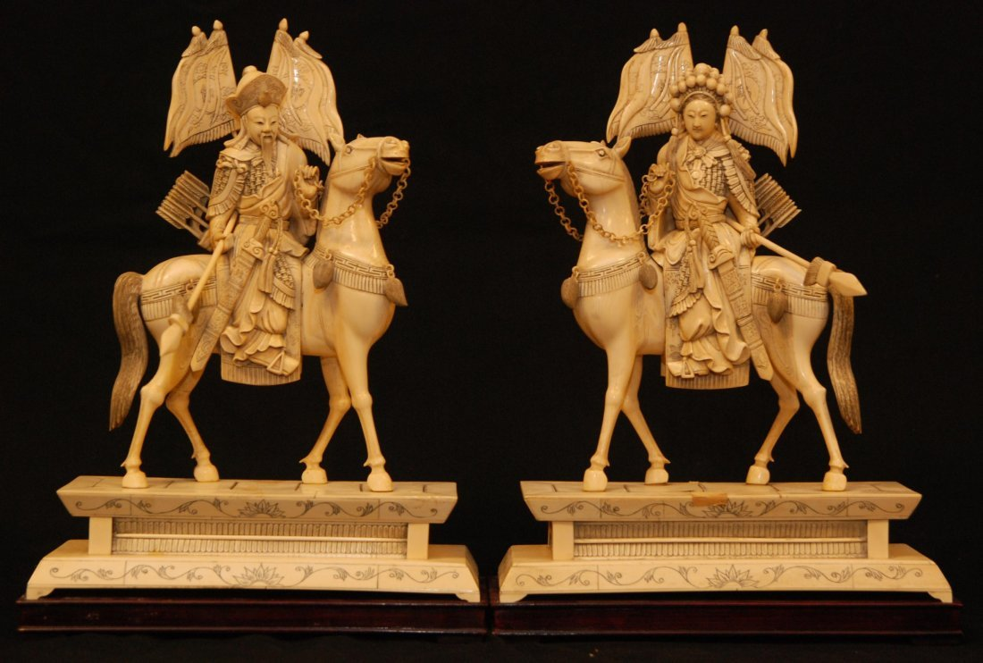120: PAIR OF CHINESE IVORY EMPEROR & EMPRESS FIGURES