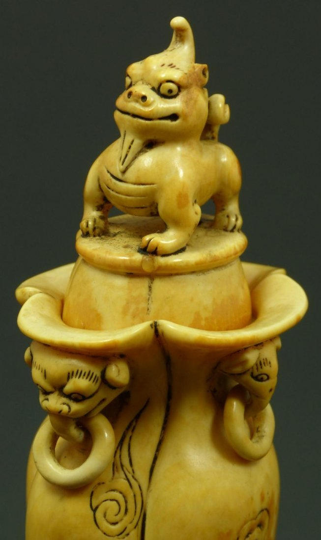 124: ANTIQUE CHINESE CARVED IVORY FOO DOG VESSEL - 2