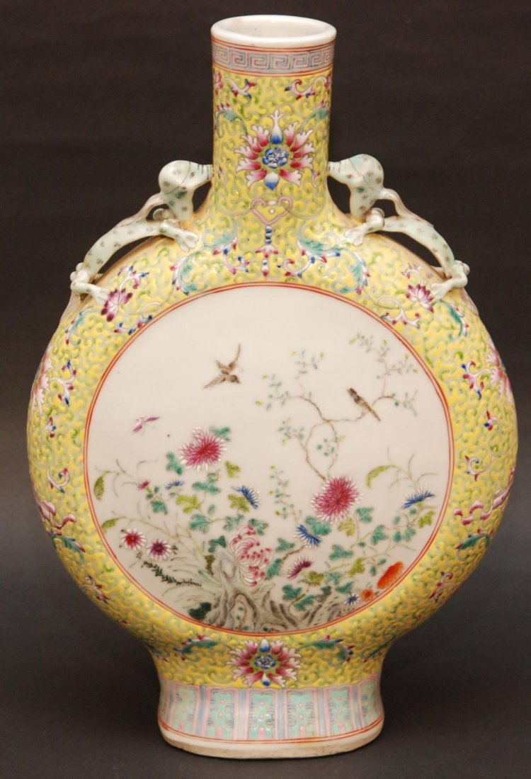 151: 19th C CHINESE FAMILLE ROSE PORCELAIN FLASK VASE