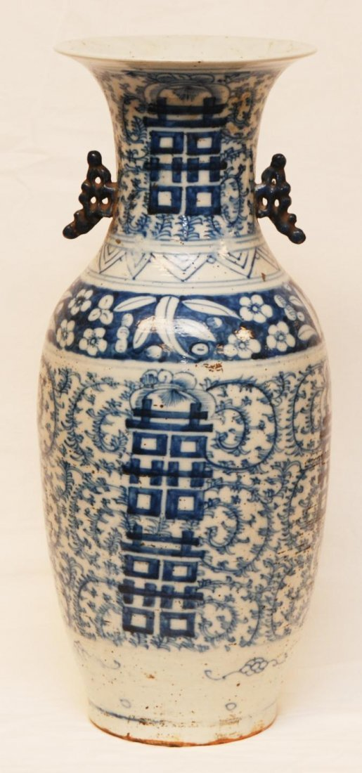 154: 19th C CHINESE BLUE & WHITE PORCELAIN FLOOR VASE