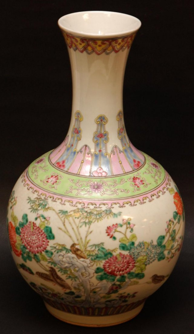 157: 19th C CHINESE FAMILLE ROSE BALUSTER VASE